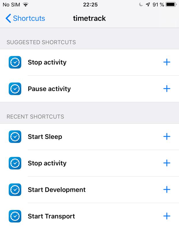 List of shortcuts